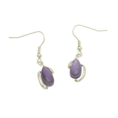 Miss Milly Purple Pebble Earrings
